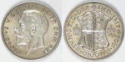 World Coins - GREAT BRITAIN, George V, 1928, 1/2 Crown, Choice AU