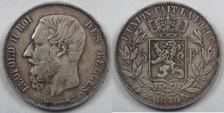 World Coins - BELGIUM, Leopold II, 1870, 5 Francs (5 Frank), Very Fine