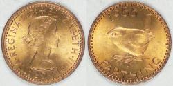 World Coins - GREAT BRITAIN, Elizabeth II, 1955 Farthing, Brilliant Uncirculated