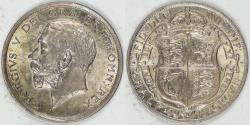 World Coins - GREAT BRITAIN, George V, 1915 ½ Crown, Choice AU to Uncirculated