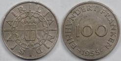 World Coins - SAARLAND - German Republic State, 1955 (a), 100 Franken, Choice Extra FIne