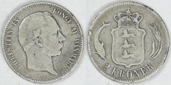 World Coins - DENMARK, Christian IX, 1875 (h), 2 Kroner, Fine