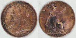 World Coins - GREAT BRITAIN, Victoria, 1899 Farthing, Extra Fine