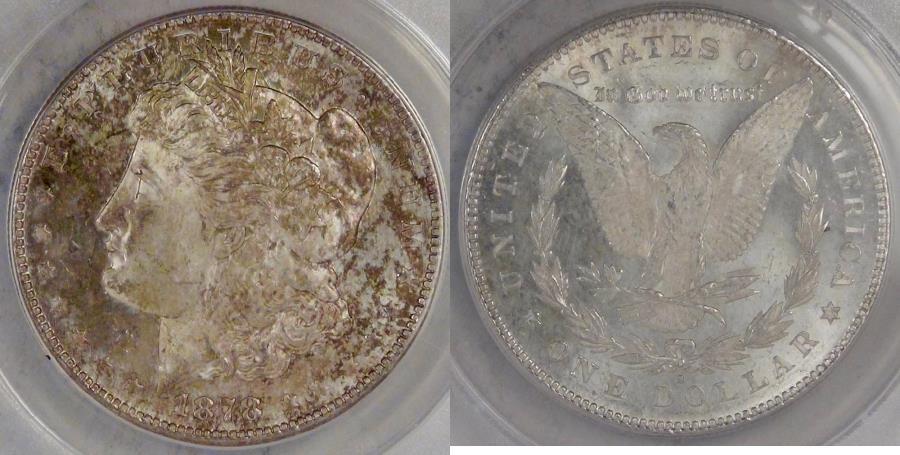 US Coins - 1878-S Morgan Dollar graded MS-63 by ANACS
