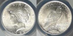 Us Coins - 1922 Peace Dollar graded MS-63 by ANACS