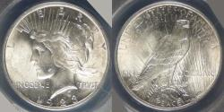 Us Coins - 1923 Peace Dollar graded MS-63 by ANACS