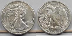 Us Coins - 1939 Walking Liberty Half Dollar, AU-58