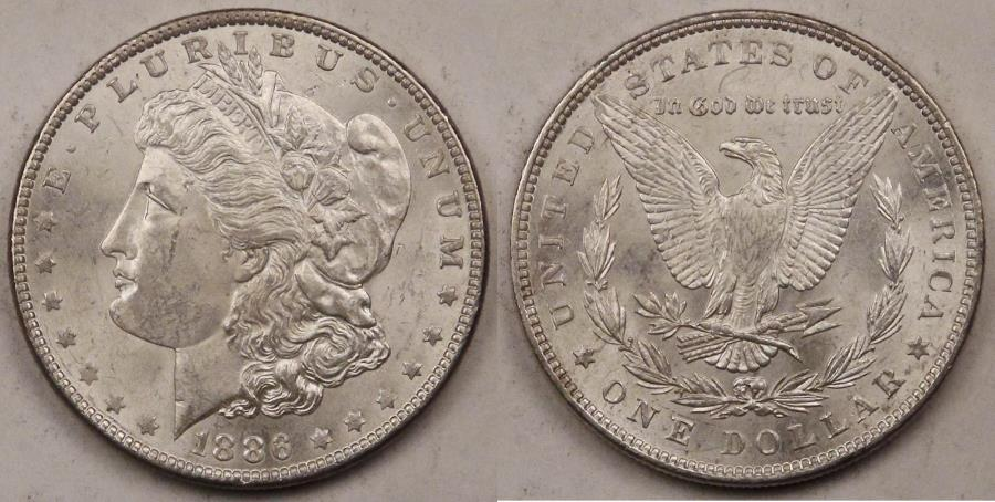 US Coins - 1886 Morgan Dollar, MS-62