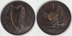 World Coins - IRELAND, Irish Free State, 1931 Pingin (Penny), Extra Fine