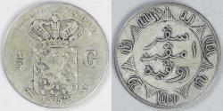 World Coins - NETHERLANDS EAST INDIES - Kingdom of Netherlands, William III, 1857 (u) ¼ Gulden, VF details