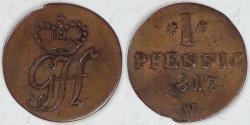 World Coins - GERMANY - Waldeck-Pyrmont, Georg Friedrich Heinrich, 1817 W, Pfennig, Very Fine