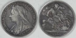 World Coins - GREAT BRITAIN, Victoria, 1898-LXII Crown, about Very Fine
