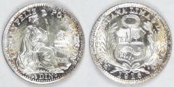 World Coins - PERU - Republic, 1916 FG, ½ Dinero, Gem BU