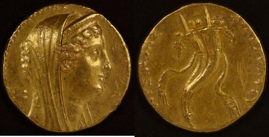 Ancient Coins - PTOLEMAIC KINGDOM, Ptolemy II Philadelphos (285-246 BC), circa 259/8 - 253/2 BC, Gold Octodrachm, graded Very Fine by ACCS