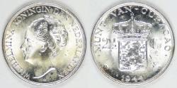 World Coins - CURAÇAO - Kingdom of Netherlands, Wilhelmina I, 1944 D, 2½ Gulden, Choice BU
