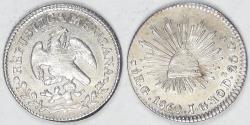 World Coins - MEXICO - 1st Republic, 1860/59 Ga JG ½ Real, Choice AU