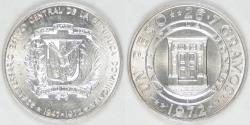 World Coins - DOMINICAN REPUBLIC, 1972 Peso, Choice BU