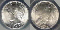 Us Coins - 1923 Peace Dollar graded MS-64 by ANACS