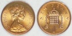 World Coins - GREAT BRITAIN, Elizabeth II, 1977 New Penny, Choice BU