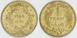 World Coins - TUNISIA - French Protectorate, anonymous coinage, AH1364/1945 (a) Franc, Choice AU