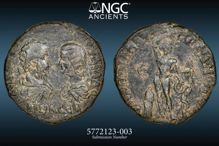 Ancient Coins - Septimius Severus and Julia Domna - NGC XF 4/5 1/5 - AE Assaria -  SCARCE DOUBLE PORTRAITS - Marcianopolis (Moesia Inferior. 9.99g 26mm Flavius Ulpianus, consular legate.
