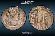 Ancient Coins - P. Clodius M. f. Turrinus 42 BC – AR Denarius – 4.08g 18.2mm - with Harlan J. Berk Provenance – NGC XF 4/5 3/5