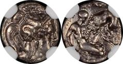 Ancient Coins - CALABRIA. Tarentum. Ca. 380-280 BC. AR diobol (12mm 1.18gm) - NGC Ch XF 4/5 4/5 -  Ca. 325-280 BC. Head of Athena right, wearing crested Attic helmet