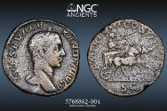 Ancient Coins - Severus Alexander - AE Sestertius, PERFECT NGC 5/5 STRIKE QUADRIGA w/CART REVERSE - Rome ,222-235 AD - 20.8g; 29mm - - NGC Ch F 5/5 2/5