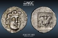 Ancient Coins - CARIA, RHODES: c. 125-88 BC on, HEMIDRACHM. 1.46g JENKINS-156. Obv: RADIATE HEAD OF HELIOS FACING 3/4 RIGHT - Rev: ROSE, BUD RIGHT - NGC Ch XF 5/5 3/5