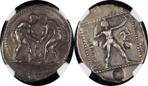 Ancient Coins - PAMPHYLIA, Aspendos. NGC Ch VF 3/52/5 – A+ Centering -  Circa 380-325 BC. AR Stater (23.8mm, 10.84g). Two wrestlers grappling / Slinger in throwing stance right; triskeles to right