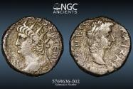 Ancient Coins - Nero, with Tiberius - EGYPT, Alexandria – with Provenance  - CNG - AD 54-68. BI Tetradrachm (23.5mm, 13.21 g, 12h). Dated RY 13 (AD 66/67). - NGC Ch VF 4/5 4/5