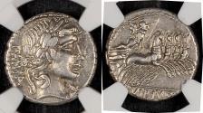 Ancient Coins - C. Vibius C. f. Pansa (ca. 90 BC). AR DENARIUS 19mm 3.83g. NGC XF 5/5 4/5. Rome. PANSA