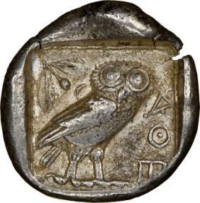 Ancient Coins - Athens AR Tetradrachm - NGC Ch VF 5/5 4/5 - 17.23 g. 26 mm 454-404 BC - Obv: Helmeted head of Athena right, with frontal eye.