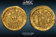 Ancient Coins - BYZANTINE - Leo I - NGC AU 4/5 2/5 - (A.D. 457-474), Solidus. 4.48g 21mm Rome, A.D. 462/6. D N LEO PE-RPET AVG, pearl-diademed, helmeted and cuirassed bust facing, slightly incline