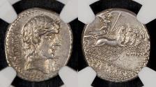 Ancient Coins - C. Vibius C. f. Pansa (ca. 90 BC). AR DENARIUS 19mm 4.11g. NGC Ch XF 5/5 4/5. Rome. PANSA,