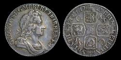 World Coins - GEORGE I 1723 SSC SHILLING, SECOND BUST WITH LOOP TIE TO REAR OF HEAD