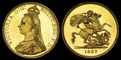 World Coins - VICTORIA 1887 GOLD FIVE POUNDS, MS 62 (PROOF LIKE)