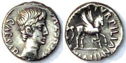 Ancient Coins - RARE Augustus. 27 BC-AD 14. AR Denarius. Rome mint. Pegasus walking right - Ancient Roman coins