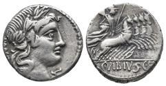 Ancient Coins - Roman Republic C. Vibius C.f. Pansa. 90 BC. AR Denarius (3.8 gr, 17.7 mm)
