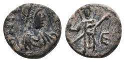 Ancient Coins - Justinian I AD 527-565. Constantinople Pentanummium Æ 1.0 gr 10.2 mm