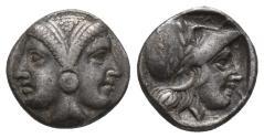Ancient Coins - Mysia, Lampsakos, 4th-3rd centuries BC. AR Diobol 1.3gr, 9.5mm