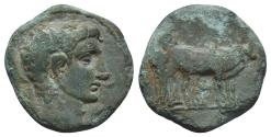Ancient Coins - MACEDON, Philippi. Tiberius. AD 14-37. Æ 3gr, 16.3mm