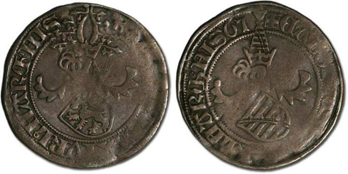 Ancient Coins - Saxony, Ernst, Albrecht, and Wilhelm III, 1465-1482 - Horngroschen 1465 - F+, bold date