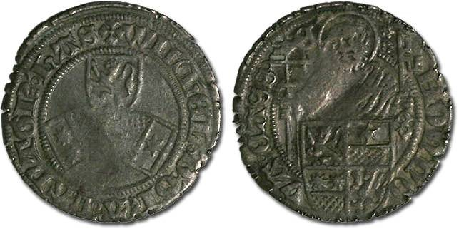 Ancient Coins - Hesse, Wilhelm I, 1483-1493 - Half Petersgroschen undated - VF, bold legends, rim dmg, small crimp