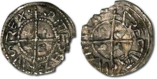 Ancient Coins - Hungary - Husz. 001 - Denar, F+, broken rim
