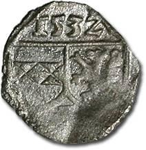 Ancient Coins - Austria, Styria, Ferdinand I, 1521-1564 - Uniface Pfennig 1532 - F