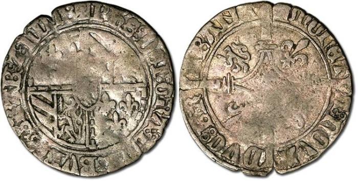 World Coins - Brabant - Double Gros Vierlander, Philip-le-Bon, 1437-1467 - F
