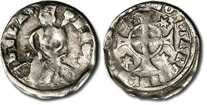 Ancient Coins - Hungary - Husz. 320 - Denar, 1235-1270 Bela IV, crude F