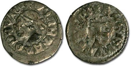 World Coins - Hungary - Ludwig I, 1342-1382 - Denar - F