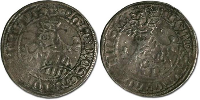 Ancient Coins - Saxony, Ernst, Albrecht, and Wilhelm III, 1465-1482 - Horngroschen 1466 - VF, bold date